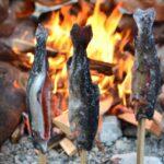 氷川キャンプ場で釣りをして魚を焼く