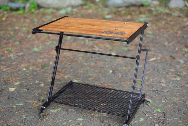 ソロキャンプ用のウッドテーブル,リトルブレイクスタンドのレビュー