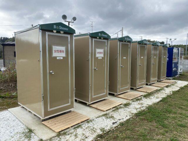 シャワー無料。キャンプ場